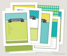 """I loved Maria's baptism book but it just wasn't the right colors so I messaged her to see if we could do turquoise, yellow, and green and wala...look how amazing she is!!  IT""""S PERFECT!  =)  (LDS Baptism Memory Book Boy Printables: Instant PDF Download - Bright Turquoise, Green, & Yellow - 8.5x11 size)"""