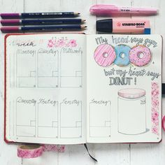 Buso Bulletjournal Bulletjournaling planner Notizbuch Papier Tagebuch Donut watercolor watercolor Woche weekly Listen