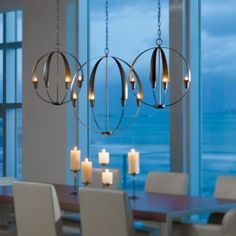 """Dining Room chandelier option: Cirque Chandelier by Hubbardton Forge, $650, Height 20.7"""", Diameter 19"""""""
