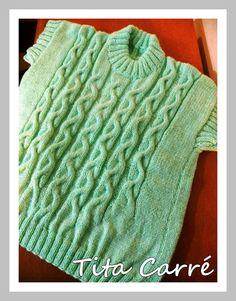 Colete em lã com cordas e losangos e como fazer decote redondo em tricot