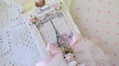 Eiffel Tower Tag Wedding Gift Tag Shabby by underthenightmoon