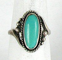 Authentic Native American Navajo Vintage NOS Sterling Silver Turquoise ring size 8