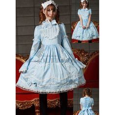 Affordable Long Sleeves Lace Floor-length Blue Gothic Victorian Dress  http://www.lolitadress.co.uk/charming-long-sleeves-bandage-cotton-blue-sweet-lolita-party-dress-p-5057.html