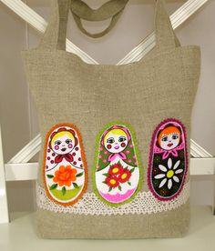 Linen Applique Russian Matryoshka Bag Linen Bag 0fc94c2380c99