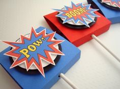 Super Cute for Jeremiah's 3rd bday!  SuperHero Lollipop Favors Set of Ten by SimpleTastes on Etsy