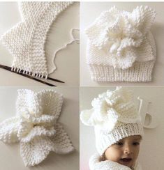 Flower on the baby cap - Knitting a love Baby Hats Knitting, Knitting For Kids, Baby Knitting Patterns, Knitting Projects, Crochet Projects, Knitted Hats, Crochet Patterns, Knit Or Crochet, Crochet Stitches