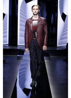 Pal Zileri SS16 look 26 #menswear #aubergine #nappa #leather #jacket - #cotton #graphic #optic #sweater - #jacquard #pixel #trousers