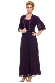 e46264931add Long Formal Big Sleeve Mother of the Bride Dress Plus Size Evening