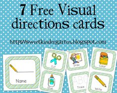 Life Is Sweet....In Kindergarten!: *Free* Visual Direction Cards
