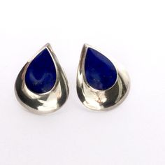 Lapis Lazuli Earrings | Sterling Silver Teardrops Cabochon Lapis | Modernist by MasCollected on Etsy