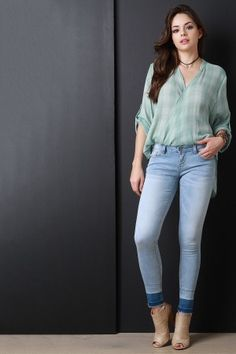 These denim jeans features a low rise waist with belt loops, classic taper cut legs, and release dyed hemline. Denim Button Up Dress, Top Clothing Stores, Iranian Women Fashion, Dresses For Tweens, Stylish Jeans, Light Jeans, Girl Fashion, Fashion Outfits, Stylish Girl Images