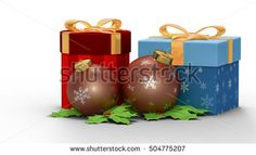 gift box with two ball in Christmas day. 3D rendering