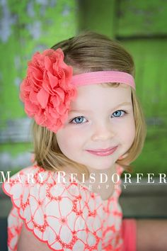 SALE  The Lulu Headband  Fits 0  6 Months  Coral by babyzdesigns, $4.00