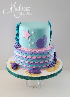 Light blue and purple mermaid & under the sea birthday cake made with Satin Ice Fondant | Madisons on Main Little Mermaid Cakes, Little Mermaid Parties, Mermaid Birthday Cakes, Mermaid Baby Showers, Baby Mermaid, Sea Cakes, 10th Birthday, Girl Birthday, Birthday Ideas