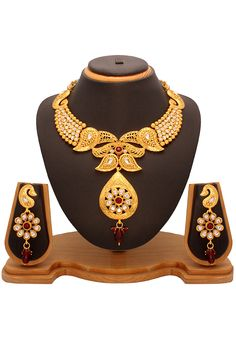 #Maroon and #White Kundan Studded #Necklace Set @ $33.14