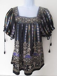 LANE BRYANT Grecian Multi Bohemian Peasant Blouse Top 18/20 Square Neck Poly