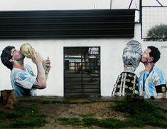 Η νέα τοιχογραφία Μαραντόνα - Μέσι στην Αργεντινή - Στέλιος Μαλτεζάκης - Νέα Κρήτη Lava, Sports, Hs Sports, Pallet, Sport