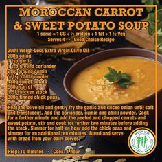 Food N, Food And Drink, Moroccan Carrots, Morrocan Food, Healthy Eating Recipes, Healthy Food, Recipe Filing, Diet Inspiration, Sweet Potato Soup