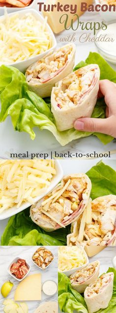 Turkey Bacon Wraps with Cheddar | http://thecookiewriter.com | @thecookiewriter | #sponsored | A healthy recipe that is perfect for lunches! The use of turkey bacon and turkey fillet creates one outstanding meal! You can substitute in chicken if desired :) | #mealprep #backtoschool #easydinner #cheese #turkey #lunch #healthyeating #lighteating #turkeybacon #bacon
