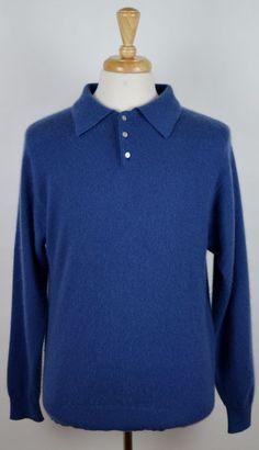 Woods & Gray Men's Light Blue 100% Cashmere Long Sleeve Polo Sweater Medium #WoodsGray #Polo