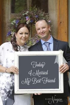 A sweet saying for the chalkboard announcement photo at The Little Log Wedding Chapel in Niagara