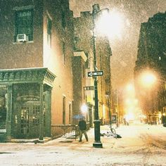 Let's get lost under the snow + streetlights. New York City . (NY Through the Lens - New York City Photography) New York Snow, Nyc Snow, New York City, New York Street, Greenwich Village, Ville New York, New York Photography, Snow Photography, Photography Business