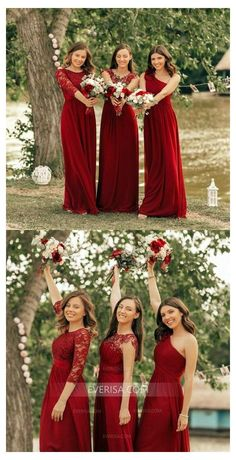 Burgundy Empire A Line Lace Bridesmaid Dresses,Chiffon Formal Dresses Bridesmaid Dresses red bridesmaid dresses Christmas Bridesmaid Dresses, Cranberry Bridesmaid Dresses, Winter Bridesmaids, Lace Bridesmaids, Wedding Bridesmaid Dresses, Wedding Bouquets, Inexpensive Wedding Dresses, Affordable Bridesmaid Dresses, Burgundy Dress
