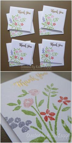 """Stampin' Up! quick and simple 3x3"""" floral Thank You card 