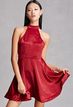 A satin halter dress featuring a self-tie neckline, back cutout, a concealed back zipper, sleeveless cut, and a structured hem. This is an independent brand and not a Forever 21 branded item.