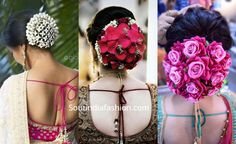 Top 10 South Indian Bridal Hairstyles For Weddings, Engagement etc. - Nischitha - Top 10 South Indian Bridal Hairstyles For Weddings, Engagement etc. Top 10 South Indian Bridal Hairstyles For Weddings, Engagement etc. Indian Bun Hairstyles, Bollywood Hairstyles, Elegant Hairstyles, Weave Hairstyles, Wedding Hairstyles, Engagement Hairstyles, Gown Hairstyles, Indian Hair Care, Indian Hair Color