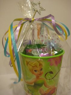 great idea to get a tinker bell cup as a loot bag!!