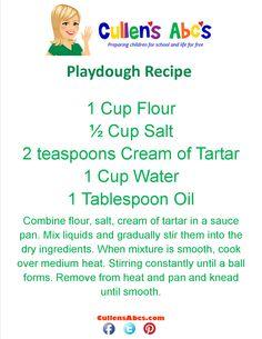 Playdough Recipe   Cullen's Abc's Online Preschool  http://cullensabcs.com/video/playdough-st-patricks-day-green-cullens-abcs/