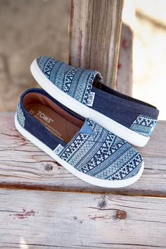 Go wild with tribal print TOMS Slip-ons for kids.