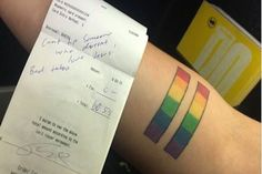 Customers Refuse To Tip Waitress Because Of Her LGBTQ Pride Tattoo<< This isn't what Jesus would do. Gay Pride Tattoos, Equality Tattoos, Bad Tattoos, Sweet Tattoos, Tatoos, Tattoos Meaning Family, Small Tattoos With Meaning, Family Meaning, Cinque Terre