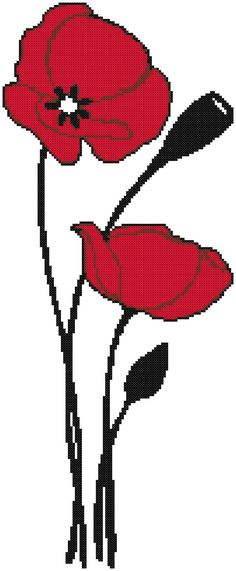 Three colors make this a simple yet elegant cross stitch pattern. This can easily be completed over a weekend so could also make a great present. (for you or someone else!)  The stitch count for Simplistic Poppies is 99 x 243. If stitched on 14 count fabric then the final piece will measure 7 1/8 x 17 3/8 inches. (18.1 x 44.1 cm) If stitched on 18 count fabric then the final piece will measure 5 1/2 x 13 1/2 inches. (14 x 34.3 cm)  The pattern to stitch Simple Poppies is a...