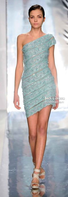 Blue lace one shoulder dress. Summer dress. Classy dress. Jack Guisso Spring  Couture