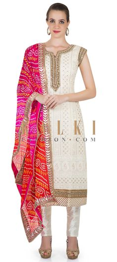 Cream Silk Top Featuring Moti and Mirror Work and Bandhani Dupatta only on Kalki