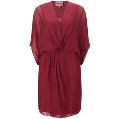 Phase Eight Kacie Kimono Dress, Light Berry (48 CAD) ❤ liked on Polyvore featuring dresses, red kimono, red mini dress, mini dress, kimono sleeve dress and 3/4 sleeve maxi dress