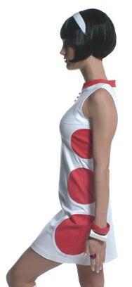 dots vestido corto blanco y rojo años 60