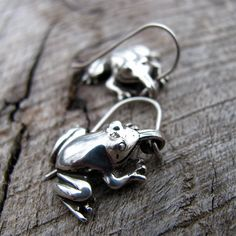 Super Sweet Spring Peepers Frog Earrings in by diggersgoldjewelry, $48.00