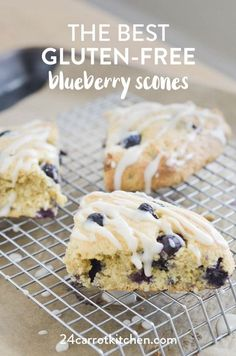 How To – The BEST Gluten Free Blueberry Scones! Gluten-Free Blueberry Scones: firm exteriors with soft, flaky interiors, bursting with blueberries! Don't forget the super simple glaze! Definitely, PIN for later! Gluten Free Baking, Gluten Free Desserts, Dairy Free Recipes, Real Food Recipes, Paleo Recipes, Gluten Free Pastry, Kidney Recipes, Healthier Desserts, Flour Recipes