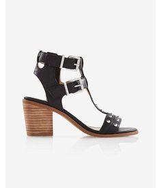Studded Block Heeled Sandal Black Women's 10