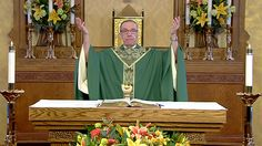 Father Bob Connors celebrates the Catholic Mass on February 4, 2015 in the Chapel of the Holy Cross at CatholicTV's Watertown studios.