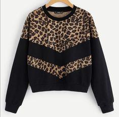 Shop Leopard Print Cut-and-sew Sweatshirt online. SheIn offers Leopard Print Cut… Shop Leopard Print Cut-and-sew Sweatshirt online. SheIn offers Leopard Print Cut-and-sew Sweatshirt & more to fit your fashionable needs. Damen Sweatshirts, Sweatshirts Online, Diy Sweatshirt, Cool Hoodies, Mode Outfits, Streetwear, Ideias Fashion, Sweaters For Women, Kaftan