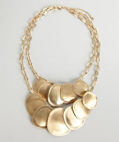 Kenneth Jay Lane gold plate double layer disk necklace | BLUEFLY up to 70% off designer brands