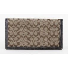 Coach Khaki and Brown Signature Checkbook Cover