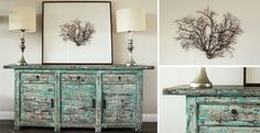 Love this sideboard and coral picture!