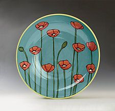 Large Poppy Bowl by Lacey Goodrich (Ceramic Bowl)