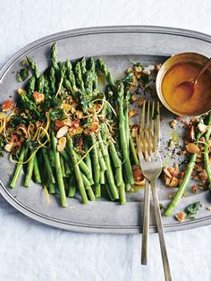 baby asparagus with garlic oregano crumbs