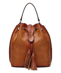 Look at this #zulilyfind! Chantel Leather Bucket Bag Backpack #zulilyfinds